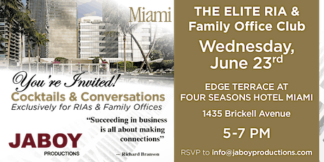 """RIA & Family Office """"Cocktails & Conversations"""" Networking Event tickets"""