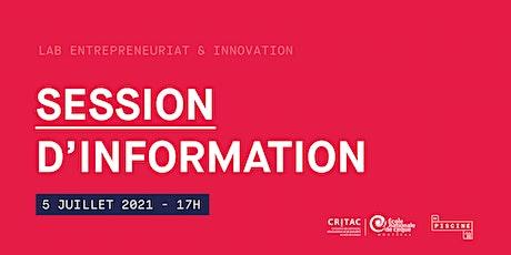 Lab en entrepreneuriat et innovation : session d'information tickets