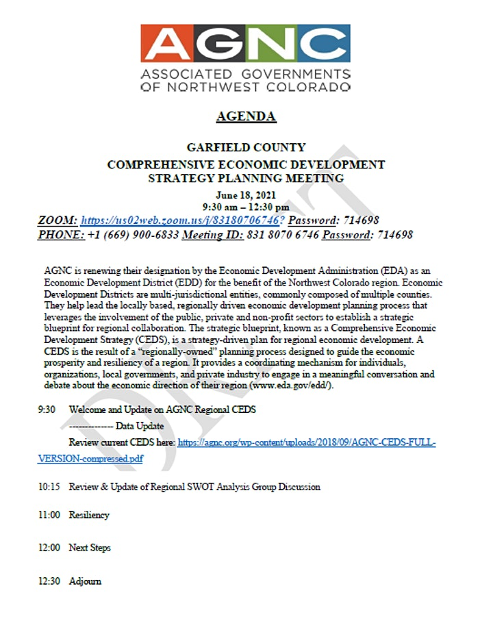 Garfield County CEDS Planning Meeting image