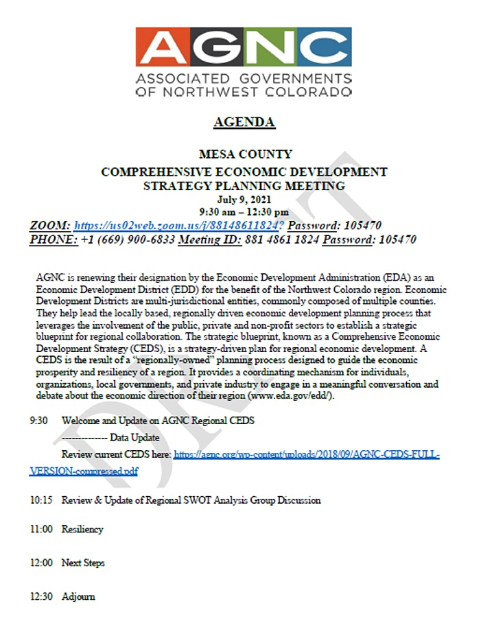Mesa County CEDS Planning Meeting image