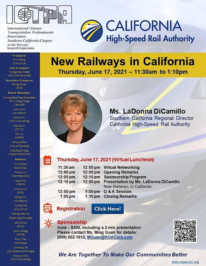 ICTPA - SCC June 2021 Webinar - New Railways in California image