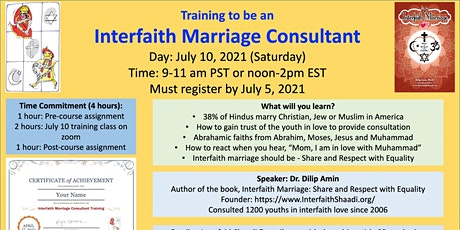 Interfaith Marriage Consultant Training Course July 2021 tickets