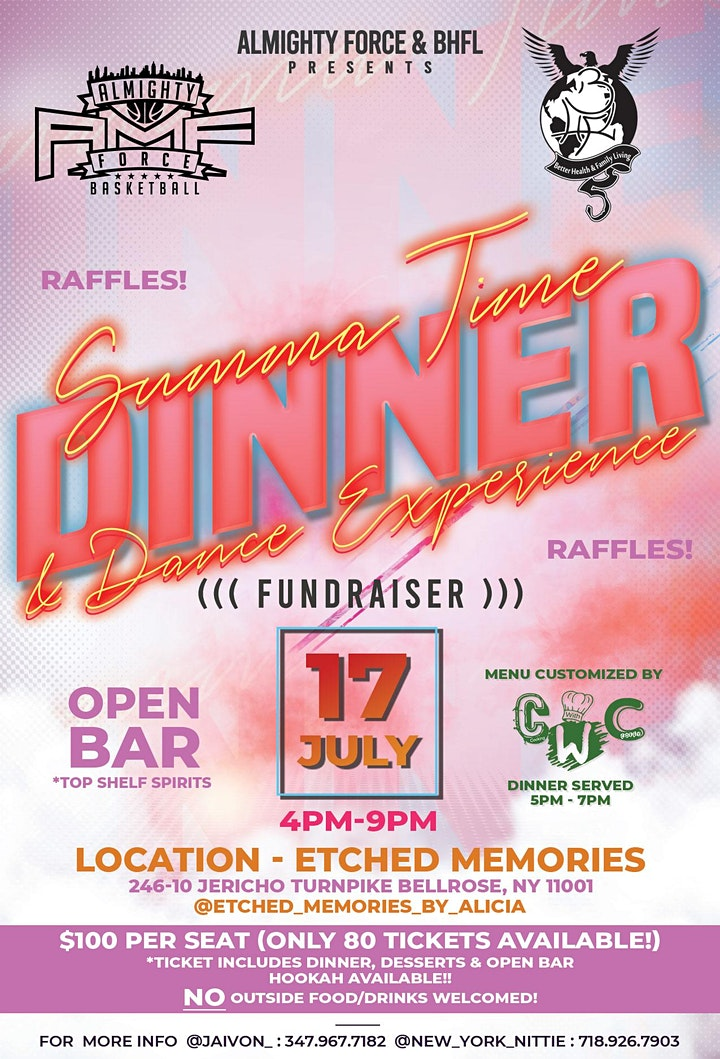 Almighty Force & BHFL Summer Time Dinner/ Dance Experience FUNDRAISER image