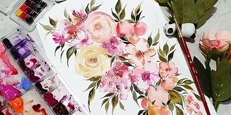 Watercolor Florals and Brush Lettering Course starts July 27(8 Sessions) tickets