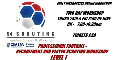 PROFESSIONAL FOOTBALL - RECRUITMENT AND PLAYER SCOUTING WORKSHOP - LEVEL 1 bilhetes