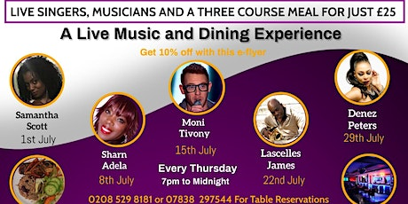 An Exclusive Dining Experience With Live Music at Bojangles in In Chingford tickets