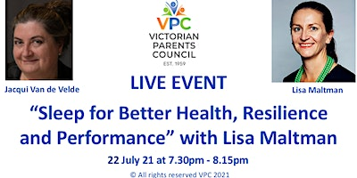 """VPC Live Event: """"Sleep for Better Health, Resilience and Performance"""""""