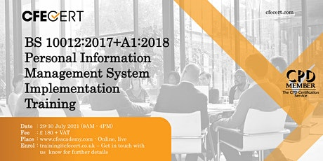 BS 10012:2017+A1:2018 PIMS Implementation  Training tickets