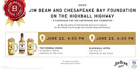 Jim Beam Highball Highway – a fundraiser for the Chesapeake Bay Foundation tickets