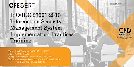 ISO/IEC 27001:2013 ISMS Implementation Practices Training tickets