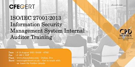 ISO/IEC 27001:2013 ISMS Internal Auditor Training tickets