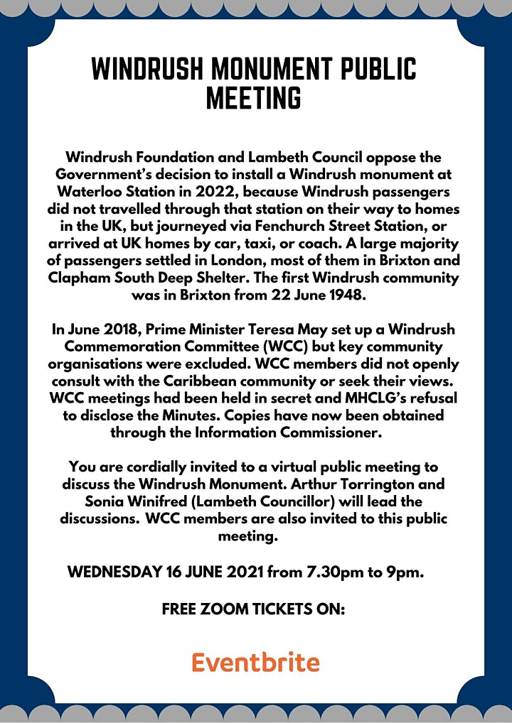 Public Meeting about the Windrush Monument image