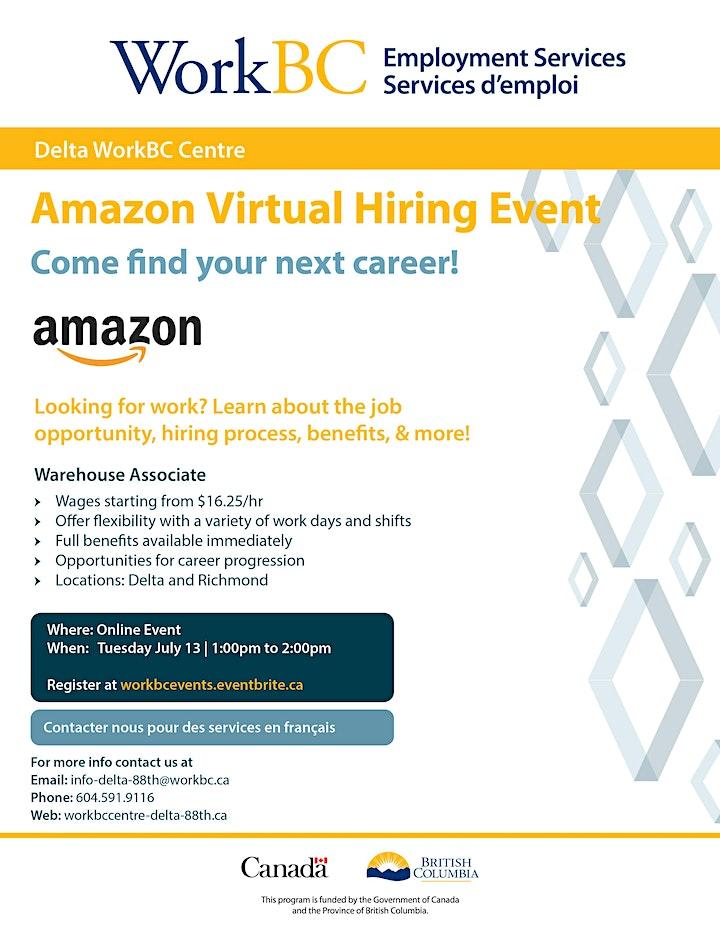 WorkBC Delta Virtual Hiring Event with Amazon image