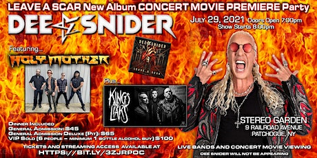 """DEE SNIDER """"LEAVE A SCAR"""" MOVIE WITH LIVE MUSIC HOLY MOTHER + KINGS & LIARS tickets"""