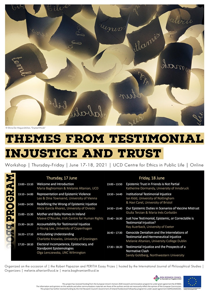 Themes from Testimonial Injustice and Trust: An online workshop. June 17&18 image