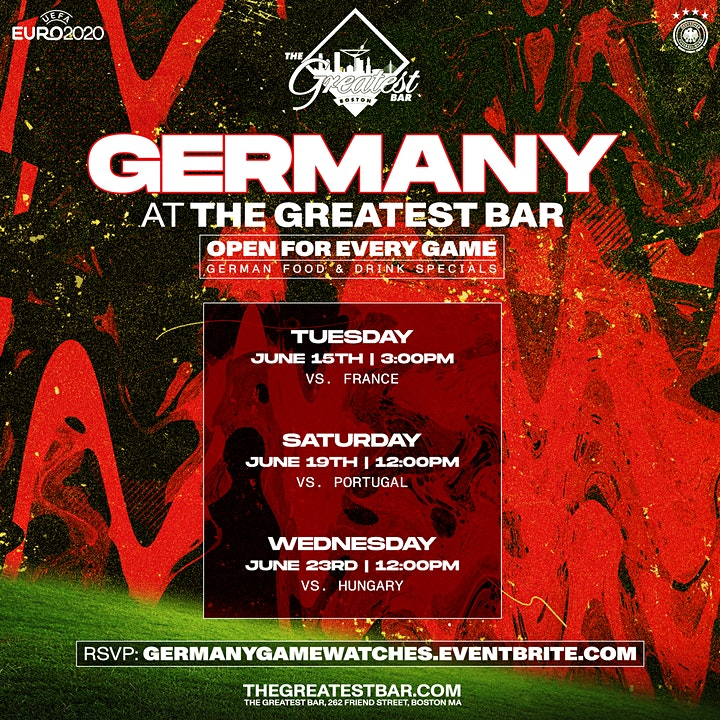 UEFA Euro 2020 Germany Game Watches at The Greatest Bar! image
