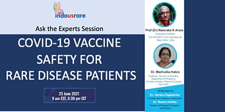 COVID-19 Vaccine Safety for Rare Disease Patients - Ask the Experts tickets