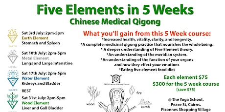 5 Element Chinese Medical Qigong - 5WK Course tickets
