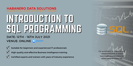 Introduction to SQL Programming - July 2021 tickets