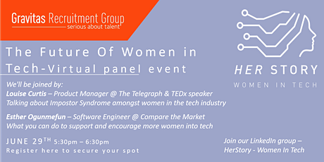 Women in Tech - 'Her Story', What does the future look like? Virtual event tickets