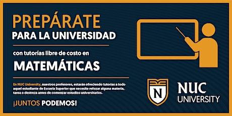 NUC Tutorías Estudiantes Seniors - Matemáticas entradas