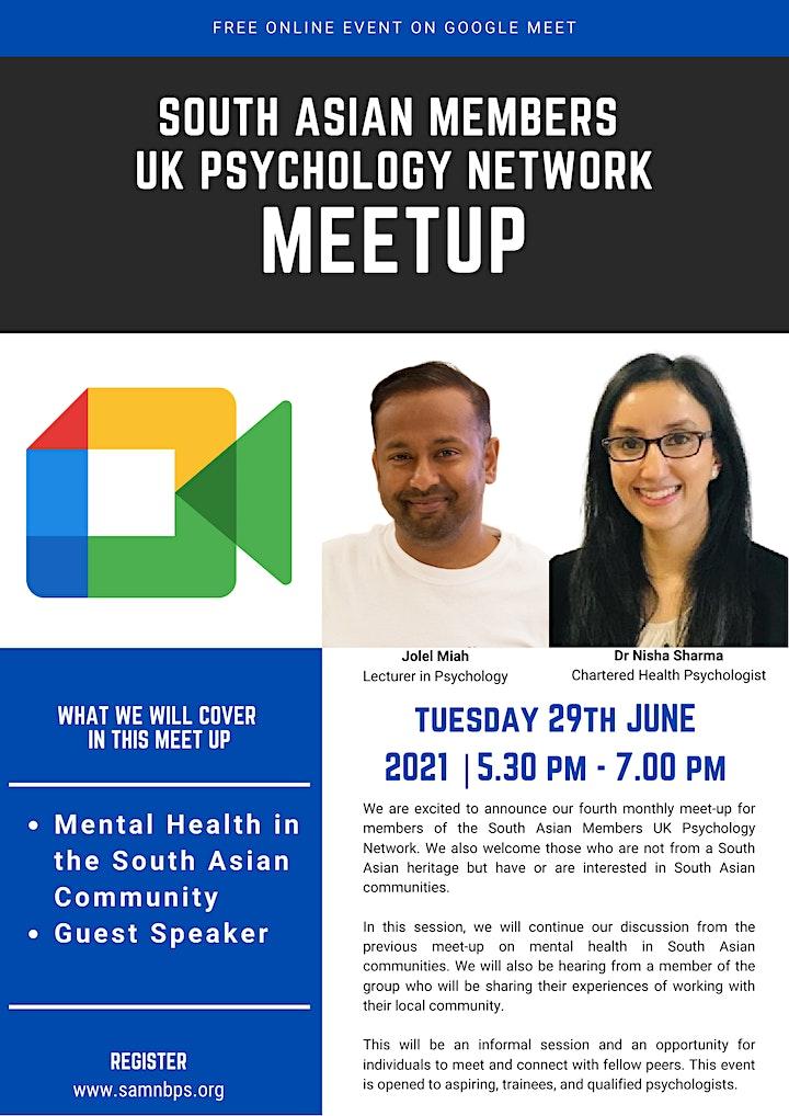 South Asian members  UK  Psychology Network Meet Up (Meeting 4) image