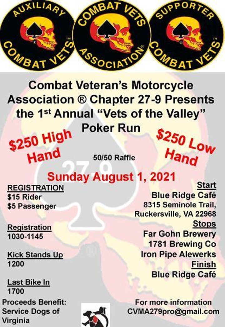 """CVMA 27-9 1st Annual """"Vets of the Valley"""" Poker Run image"""