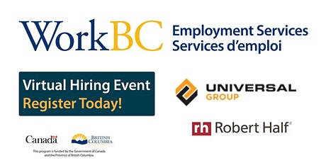 WorkBC SSWR/Cloverdale virtual hiring event with Universal  and Robert Half tickets
