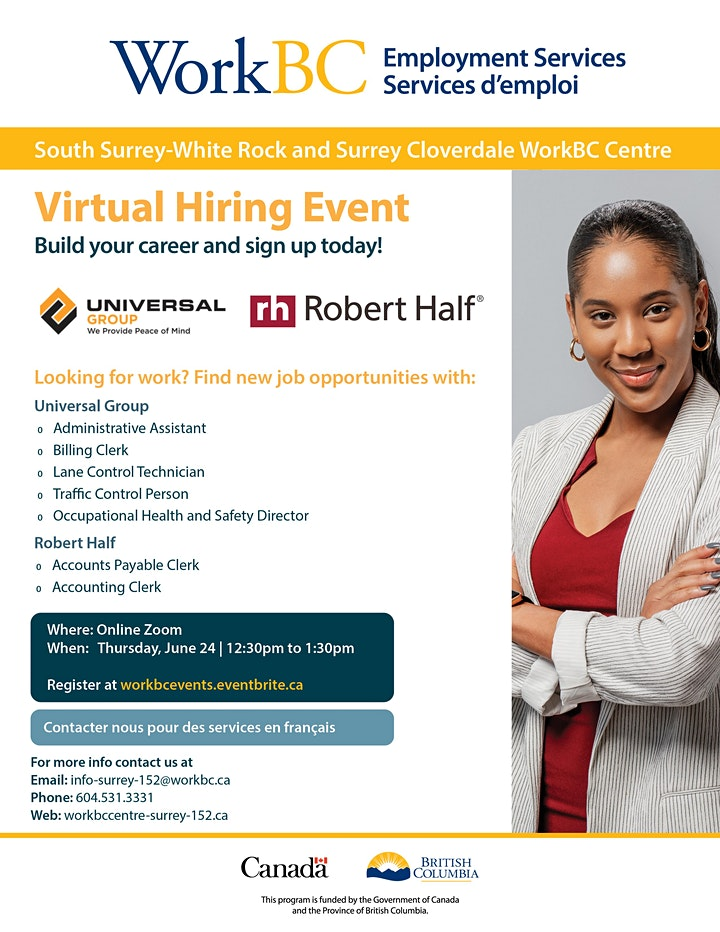 WorkBC SSWR/Cloverdale virtual hiring event with Universal  and Robert Half image