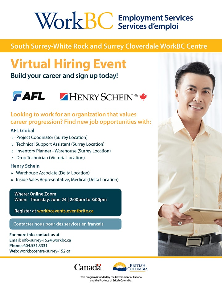 WorkBC SSWR/Cloverdale virtual hiring event with AFL and Henry Schein image