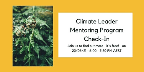 Climate Leader Mentoring Program Check-In tickets