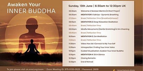Half Day Silent Meditation Retreat via Zoom - Awaken Your Inner Buddha tickets