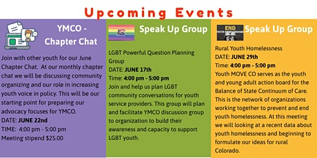 YMCO Speak UP group:  Rural Youth Homelessness tickets