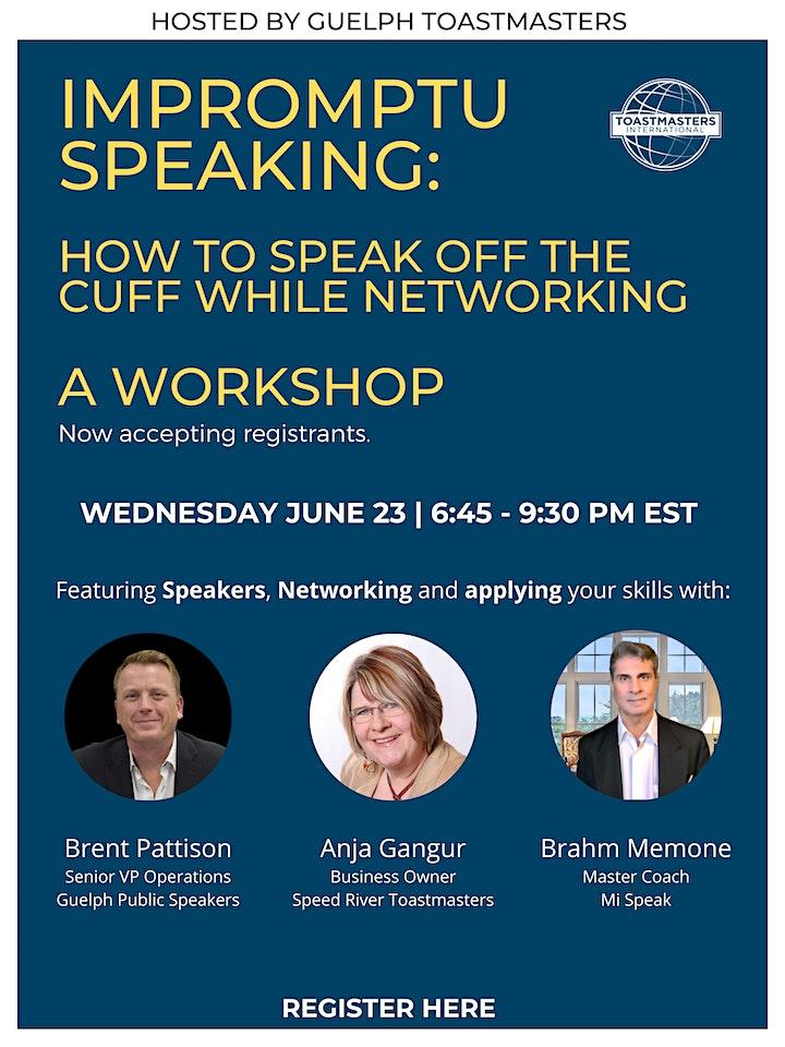 Impromptu Speaking Workshop: Speak off the cuff while networking image