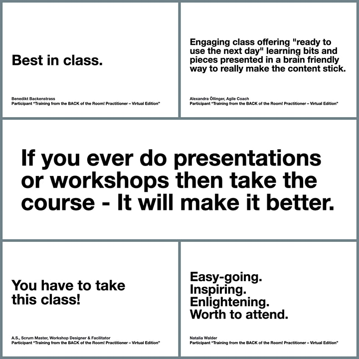 Training from the BACK of the Room Practitioner - Virtual Edition, English image