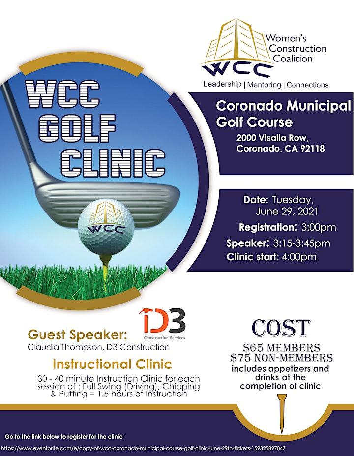 WCC Coronado Municipal Course Golf Clinic - June 29th image