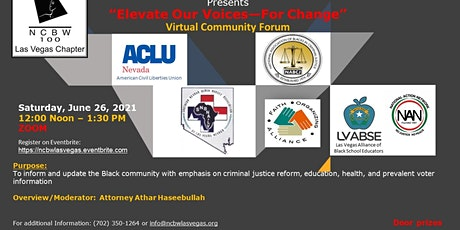 """""""Elevate Our Voices-For Change"""" Virtual Community Forum tickets"""