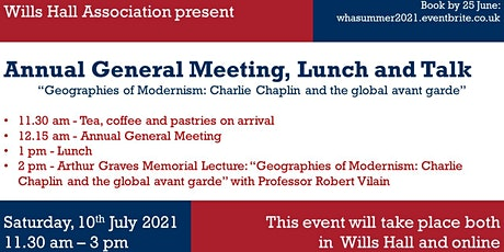 Wills Hall Association | AGM, lunch and talk tickets