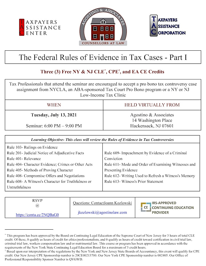 The Federal Rules of Evidence in Tax Cases – Pt. 1 image
