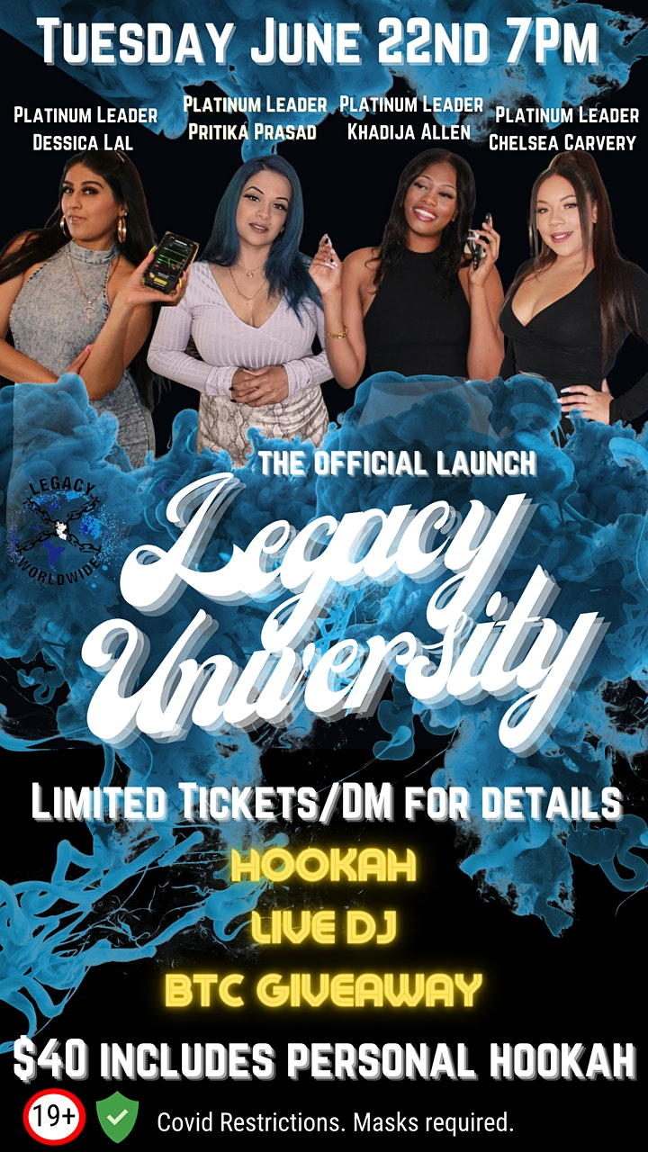 The Official Launch: Legacy University (Hookah Night) image