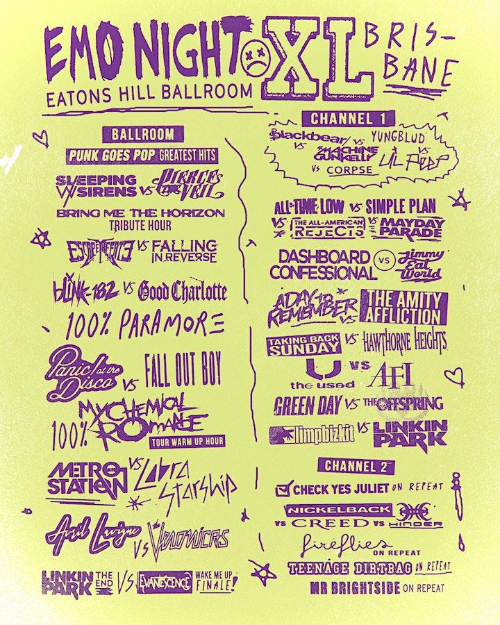 EMO NIGHT XL + MCR WARM UP PARTY! BRISBANE image