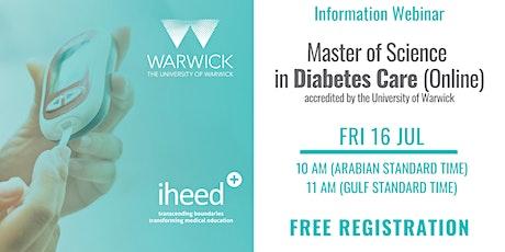 MSc Diabetes: University of Warwick - Info Webinar - MENA  July 2021 tickets