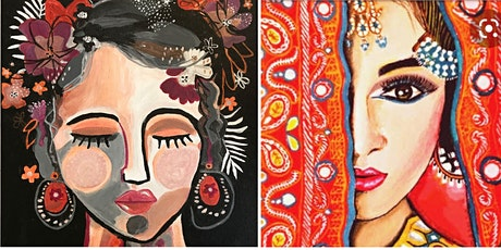 Acrylic Painting - COLOURFUL ABSTRACT WOMAN - many styles (Paint and Sip) tickets