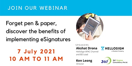 Webinar - Discover the benefits of implementing eSignatures tickets