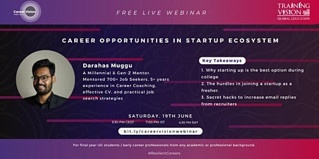 Career Opportunities in Startup Ecosystem tickets