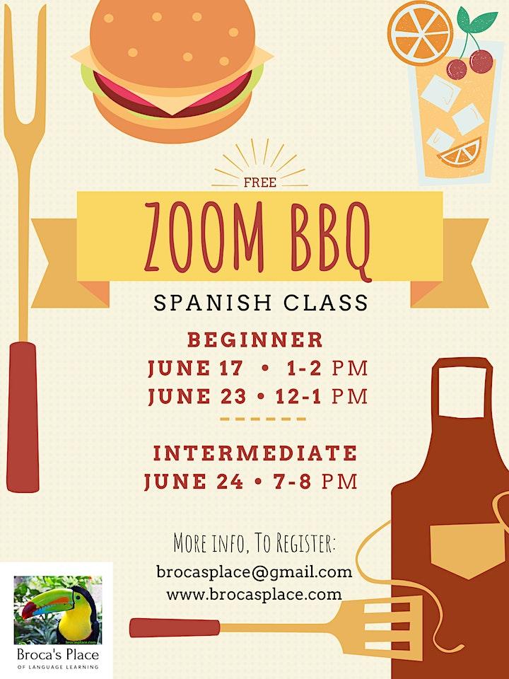 ZOOM BBQ - Beginner Spanish Class image
