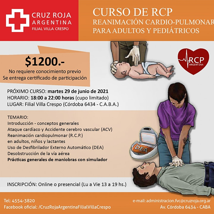 Imagen de Curso de RCP en Cruz Roja (martes 29-06-21) - Duración 4 hs.