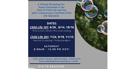 TACLP Regional Child Life Workshops (101 or 201) *see flyer for dates* tickets