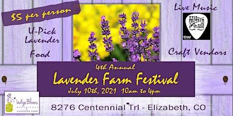 Indigo Blooms Botanicals 4th Annual Lavender Farm Festival July 10th, 2021 tickets