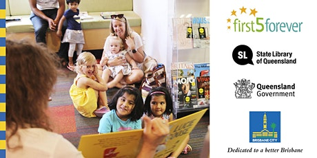 First 5 Forever stories and signs - Toowong Library tickets